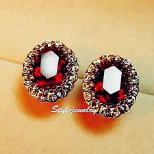 18k Rose Gold Filled Ruby Red Oval Stud Earring Made With Swarovski Crystal IE4