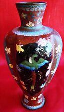 Unusual - Cloisonne Vase - Butterflies - Phoenix Birds - Enameled Over Cloisonne