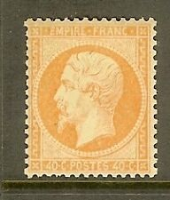 "FRANCE STAMP TIMBRE N° 23 "" NAPOLEON 40c ORANGE 1862 "" NEUF x TB SIGNE"