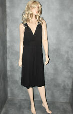 Black GEORGE Diamonte Evening Dress Size 12 Stretchy Ladies Party Frock Womens