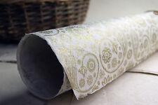 "Handmade Paper 20"" x 30""  Golden Paisley set of 3 Floral Print"