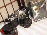 PENTAX K1000 35mm FILM SLR CAMERA with 2 LENSES, HOYA PL FILTER & CAMERA CASE