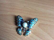 Large Turquoise Blue Enamel & Crystal Butterfly Booch