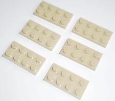 JEU JOUET ENFANT Personnage LEGO * Lot 6 BRIQUES PLATES 2 X 4 - BEIGE  * !!