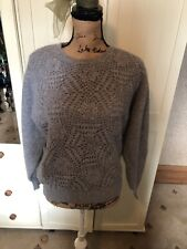 LADY'S COLLECTION Soft Grey Knit Mohair Blend Long Sleeve Floral Sweater Size 12