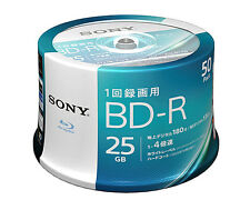 50 Sony Bluray Disc 25gb BD-R 4x Speed Inkjet Printable Blu ray Free Region