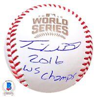 *RARE* Travis Wood Cubs Signed 2016 World Series Baseball Autograph -BECKETT COA