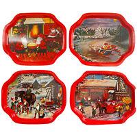 20 PC Set Vintage Metal Tin Serving Snack Trays Christmas Theme Santa Red Green