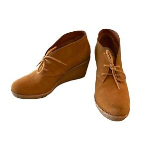 Cole Haan Halley Chukka Suede Wedge Ankle Bootie Boots Size 8.5 8 1/2 Tan