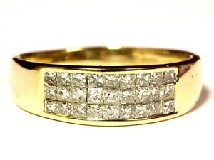 14k yellow gold 1.08ct mens invisible set princess diamond wedding band 5g ring