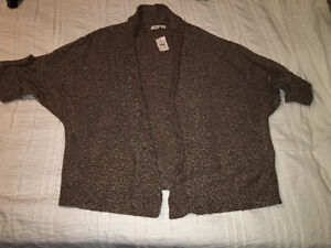 NWT Cato Woman Brown Open Front Draped Cardigan Sweater Short Sleeve Sz 22/24W