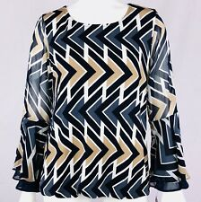 ALFANI Women's Top Size S Bell Sheer Sleeves Stretch Lined Exposed Zipper NWT