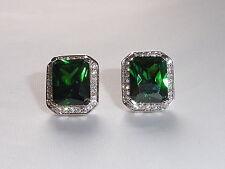 Ladies Art Deco Stile 925 Argento Bianco Zaffiro Orecchini Con Smeraldo Verde Diopside