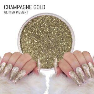 Champagne Gold Glitter Chrome Mirror Mermaid Pigment Effect Nail Powder Gel Dust
