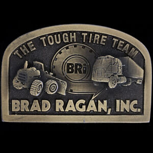 BRi Brad Ragan Tire Co Mechanic Farm Truck Tractor 80s NOS Vintage Belt Buckle