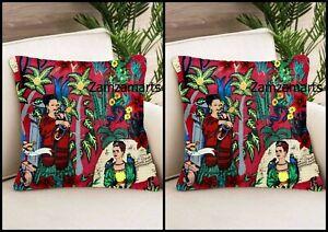 "22""x22"" Frida Kahlo Style Indian Home Decorative Cotton Pillow Sofa Set Cover"