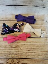 Bow Tie Tuesday lot of 4 prom wedding polyester pink white purple cats