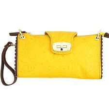 TJS Genuine Leather Bag Clutch Purse Pattern Handmade in Italy Yellow Brown