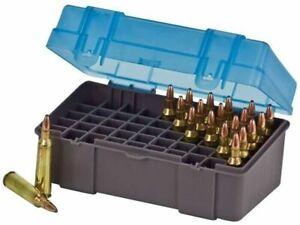 Plano 50 Count Rifle Ammo Hard Case Grey/Blue Gun Ammunition Box .32 .308 .30/06