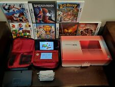 Nintendo 3DS XL Red with 7 Games And Charger w/ base and black carrying case