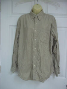 Lands End Long Sleeved Shirt Medium 15 15.5 Tan Corduroy