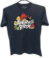 Angry Birds Cotton Polyester Blue Round Neck Men's Short Sleeve Shirt - Size L