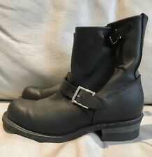 Woman's Frye biker boots. size 6.5 uk. Black leather. engineer boots.