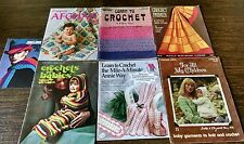Vintage Misc Lot of 7 Crochet & Knit Pattern Books Baby Hats Afgans Blankets