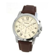 New! Fossil Grant Gents Brown Leather Strap Chronograph FS4735 Mens Watch