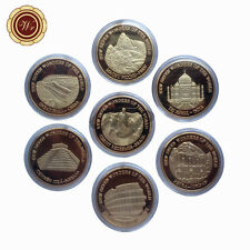 WR Seven Wonders of The World 7PCS Set Gold Plated Commemorative Coin Souvenirs
