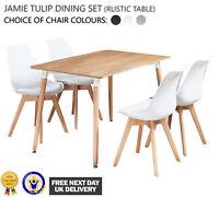 Jamie Dining Set - 4 x Jamie Tulip Dining Chairs & Rustic Halo Wood Dining Table