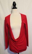 Veronika Maine Cherry Red Deep Cowl Neckline Cotton Viscose Knit Cardigan L