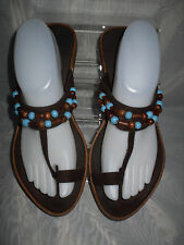 WOMENS MARKS & SPENCER DARK BROWN TOE POST SIZE:7/41(WS48)