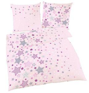 Sterne Fein-Biber Bettwäsche für Kinder / Mädchen in Rosa 80x80 + 135x200 cm