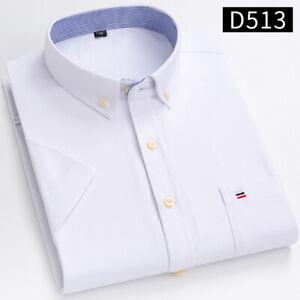Mens Dress Shirts Short Sleeves Casual Slim Camisas Solid Oxford Cotton Shirts