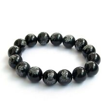 Black Agate Gemstone Buddha Word Lotus Tibet Buddhist Prayer Beads Mala Bracelet