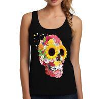 Velocitee Ladies Vest Pretty Sunflower Flower Skull Holiday Rave Festival A21893