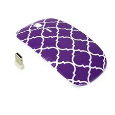Quatrefoil Moroccan Purple USB Wireless Optical Mouse for All Macbook & Laptop