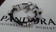 Authentic Pandora SSilver Leather Wrap Bracelet Necklace+Charms Beads LOVE 15""