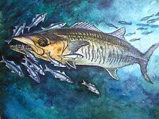 Watercolor Painting Blue Ocean Fish Fishing 5x7