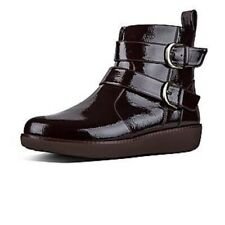 FitFlop LAILA DOUBLE BUCKLE Ladies Patent Ankle Boots Berry Size 7 RRP£130