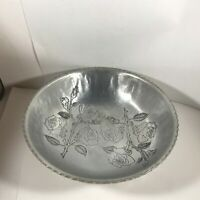 Vintage FARBERWARE Wrought Hammered Aluminum Roses Fruit Bowl