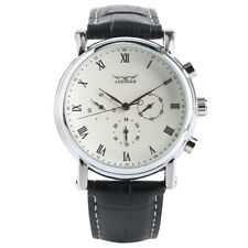 JARAGAR Black/White 22mm Leather Band Week Mens Automatic Mechanical Wrist Watch