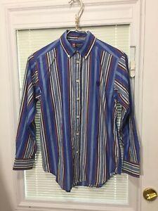 Chaps Boys Youth Button Down Dress Shirt Blue Striped Sz Medium (10-12) RN 41381