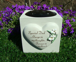 Dad Heart Lily Memorial Vase (rose bowl) Fathers Day Grave Garden Ornament Verse