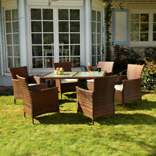 Sitzgarnitur Sitzgruppe Lounge Gartenmöbel Set Essgruppe Garten 6+1 Polyrattan