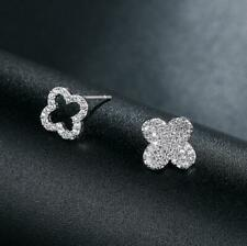 Pave Cubic Zirconia 925 Sterling Silver SP Flower Lucky Clover Stud Earring