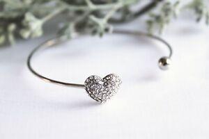 Diamante Heart Bangle - Bridesmaid/Gift/Wedding/Prom