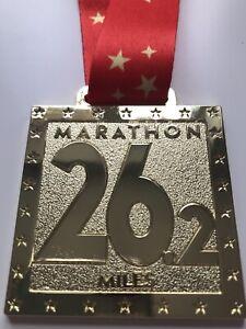 MARATHON -  Gold and Red Bespoke Charity Virtual Running Medal Run Walk Cycle