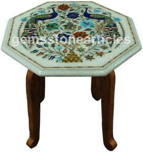 """12""""x12"""" Marble White Top Coffee Table Lapis Peacock Floral Inlay Veterans Gift"""